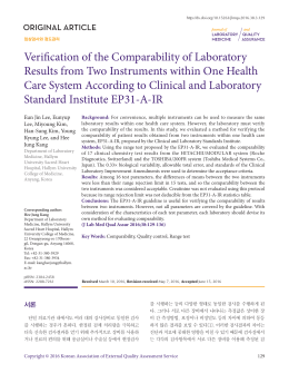 Verification of the Comparability of Laboratory Results from Two