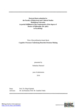 Doctoral thesis submitted to the Faculty of Behavioral and Cultural