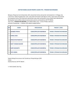 daftar nama calon peserta ujian sttk - perawatan