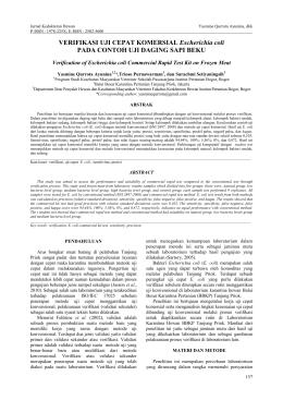 VERIFIKASI UJI CEPAT KOMERSIAL Escherichia coli PADA