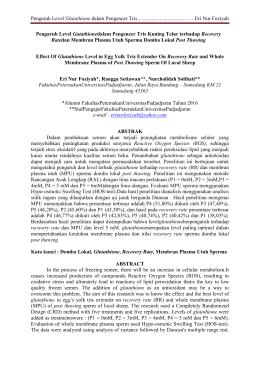 Pengaruh Level Glutathione dalam Pengencer Tris