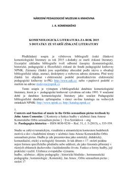 Komeniologická literatura za rok 2015