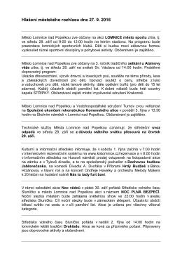 Hlášení městského rozhlasu dne 27. 9. 2016