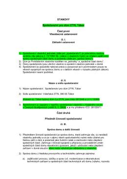 Nová pracovní verze návrhu stanov, odsouhlasená část I-VI
