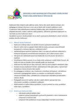 Pravidla pro hodnocení žáků ZŠS