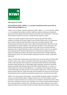 Tisková zpráva: 27. 9. 2016 Závod společnosti HUTIRA – KRÁLÍK