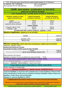 CENÍK letní sezóna - prodloužení do 25.9.2016