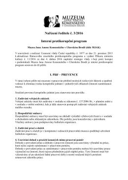 Interní protikorupční program - Muzeum Jana Amose Komenského