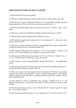 Souhrn usnesení z 59. schůze rady města