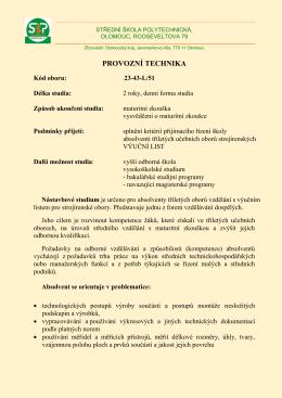 Provozní technika - Střední škola polytechnická, Olomouc