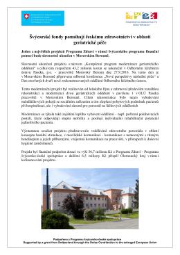 Švýcarské fondy pomáhají českému zdravotnictví v