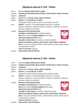 Dějepisná exkurze 9. tříd – Polsko Dějepisná exkurze 9. tříd – Polsko