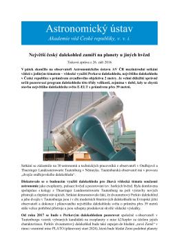 Největší český dalekohled zamíří na planety u jiných hvězd