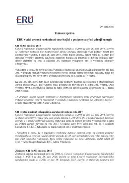 Tisková zpráva ERÚ vydal cenová rozhodnutí související s