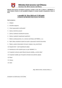 Oznámení o konání veřejného zasedání zastupitelstva města 10.10