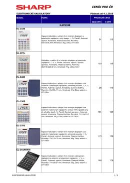 Ceník ele. kalkulátorů SHARP