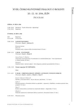XVIII. Česko-sloVenské dIalogy o bolestI 20.–22. 10. 2016, ZlÍn