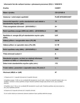Informační list dle nařízení komise v přenesené pravomoci