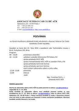pozvánka - Autoklub České republiky