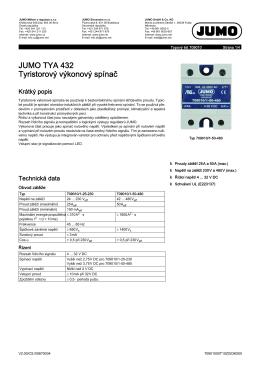 JUMO TYA 432 Tyristorový výkonový spínač
