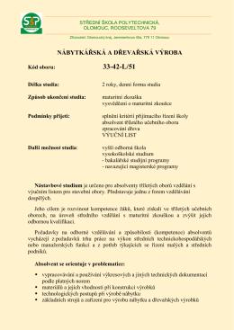 Nábytkářská a dřevařská výroba - Střední škola polytechnická