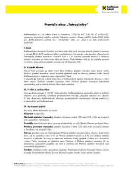 """Pravidla reklamní akce """"Tatraplatby"""""""