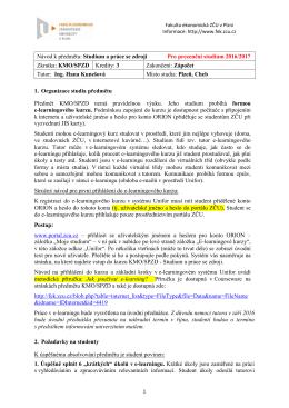 Pokyny k předmětu KMO/SPZD