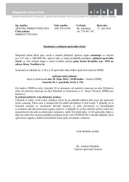 Sp. značka Naše značka Vyřizuje Brno dne 3850/OSC/MMB