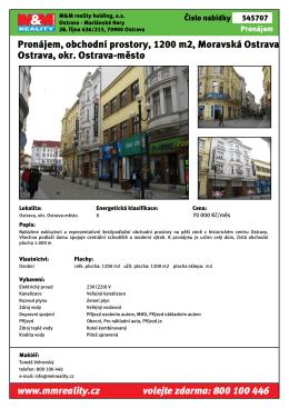 Pronájem, obchodní prostory, 1200 m2, Moravská Ostrava Ostrava