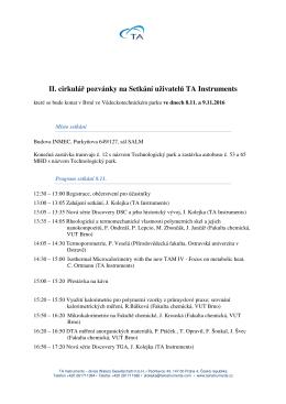 II. cirkulář pozvánky na Setkání uživatelů TA Instruments