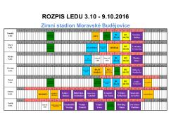 rozpis 03.10.- 9.10.2016 - Zimní stadion Moravské Budějovice