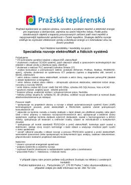 Specialista rozvoje elektro/MaR a řídících systémů