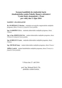 Seznam kandidátů na člena AS FFÚ VŠE pro volby do studentské