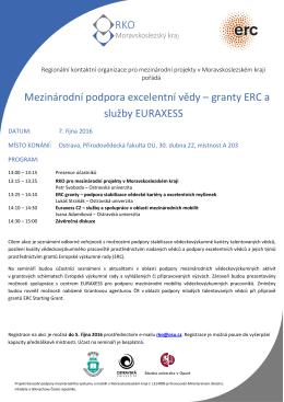 Mezinárodní podpora excelentní vědy – granty ERC a služby