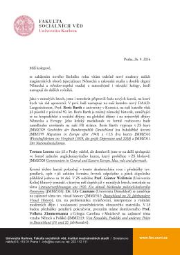 Dopis studentům katedry k zahájení akademického roku 2016/2017