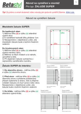 Vyměření a montáž horizontální žaluzie SUPER