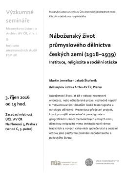 Náboženský život průmyslového dělnictva českých zemí (1918–1939)