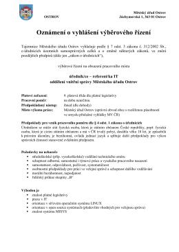 Výběrové řízení - úředník/ce
