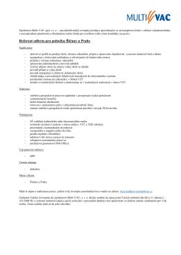 Referent odbytu pro pobočku Říčany u Prahy - Multi
