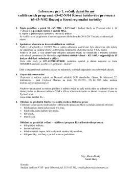 Informace k zápisu do 1. ročníku VOŠ.