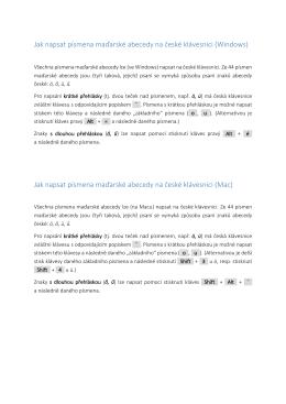Jak napsat písmena maďarské abecedy na české klávesnici