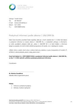 Poskytnutí informací podle zákona č. 106/1999 Sb.