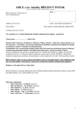 Dopis kandidátům do Senátu a Plzeňského kraje