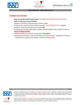 informace pro účastníky - Výbor dobré vůle, Nadace Olgy Havlové