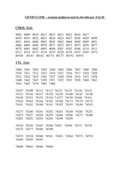 GENIUS G540 - seznam podporovaných obvodů pro