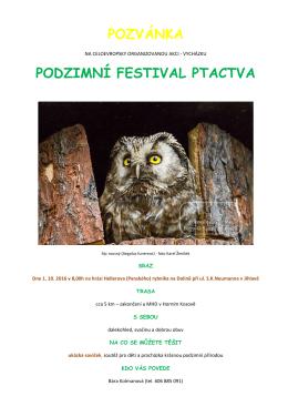 POZVÁNKA FESTIVAL PTACTVA 2016