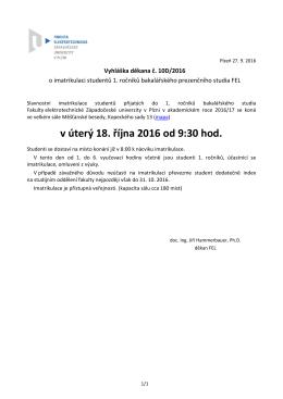 Vyhláška děkana č. 10D/2016