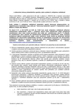 Oznámení o dokončení obnovy katastrálního operátu, k.ú. Milčice u