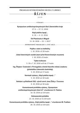 Program akcí SM na ŘÍJEN 2016 - Severočeské muzeum v Liberci