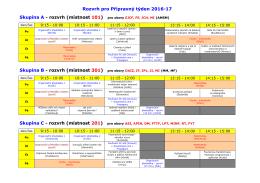Rozvrh pro Přípravný týden 2016-17 Skupina A